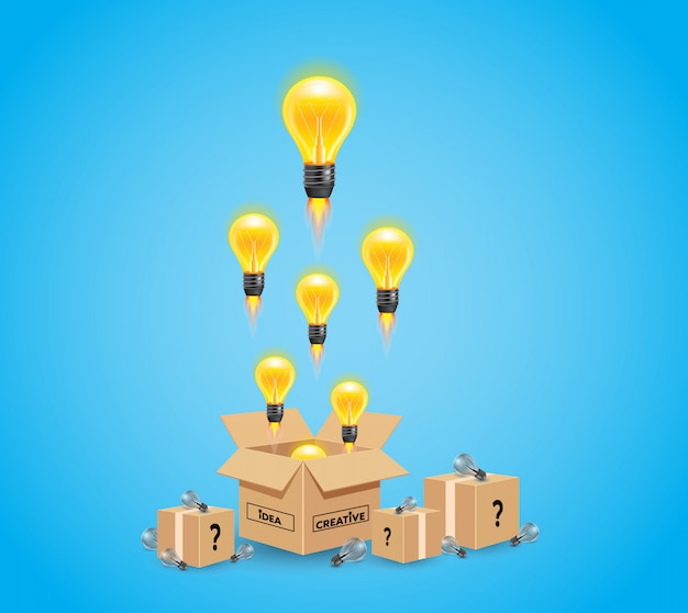 Bright idea and insight concept with yellow light bulb