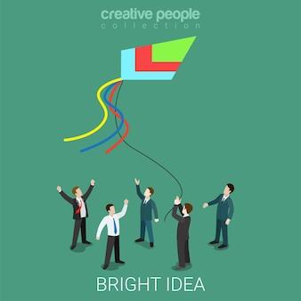 フラットな等尺性の予言と運命のビジネスを実行している明るいアイデアの凧