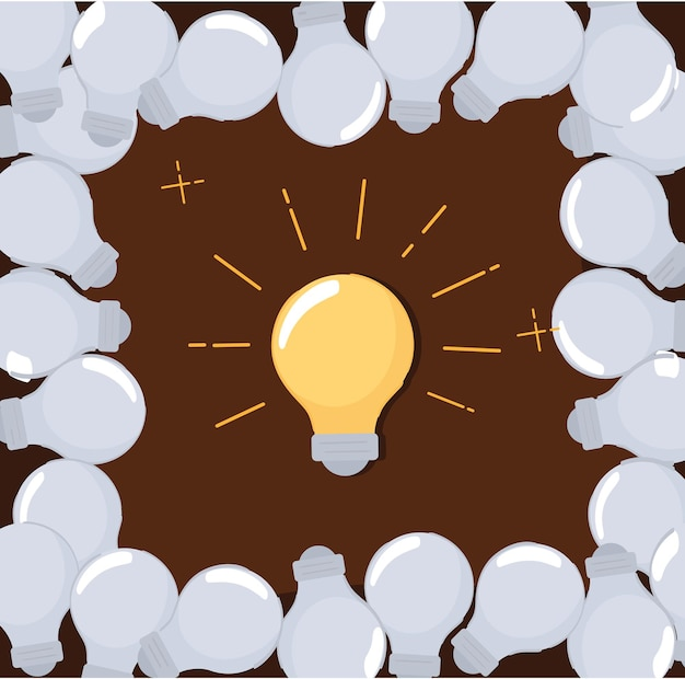 明るいアイデアの電球