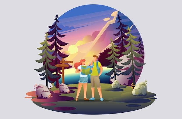 Bright illustration of a campsite, young people studying a map of the forest