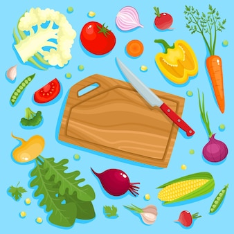 Bright illustration of colorful cutting board, knife and vegetables. cooking card poster