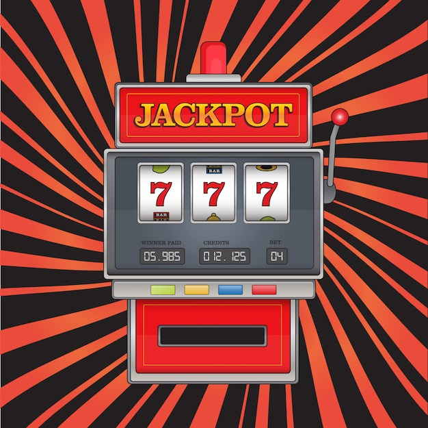 Bright illustration on jackpot theme. red slot machine with three sevens on abstract striped background.
