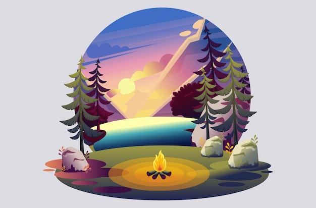 キャンプ場の明るいイラスト、湖に沈む夕日の背景に火