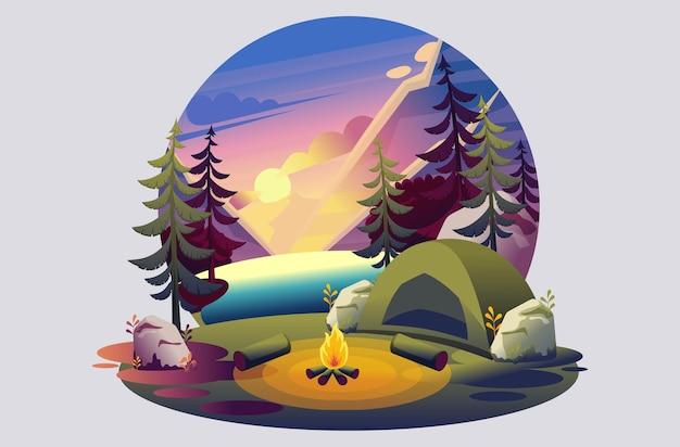 キャンプ場、湖に沈む夕日を背景に火のあるテントの明るいイラスト
