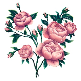 Bright illustration of pink peonies with beautiful green leaves, bush roses