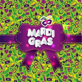 Bright illustration on seamless texture and sign mardi gras.