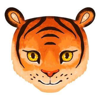 Bright illustration of a tiger muzzle for children in vector