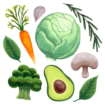 Bright illustration for a vegetarian's day, fresh vegetables, cabbage, carrots, thyme, basil leaves, garlic, avocado, broccoli, mushrooms