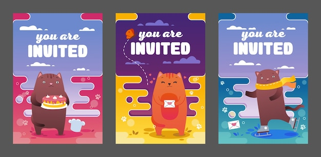 Bright invitations design with cute cats vector illustration set. funny kitty skating, cooking and standing. mascot and celebration concept