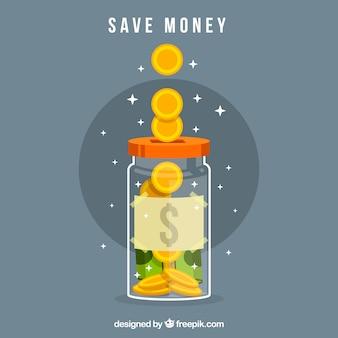 돈으로 밝은 항아리 배경