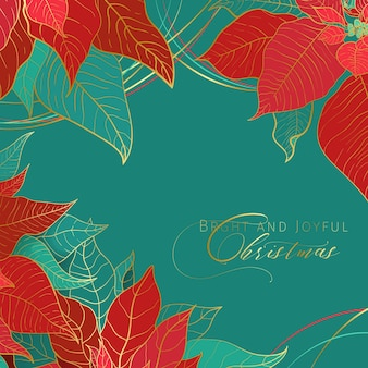 Bright and joyful christmas square green banner. red and green poinsettia leaves with golden line