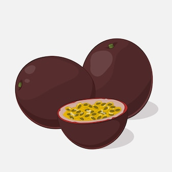 Bright juicy passion fruit on grey background