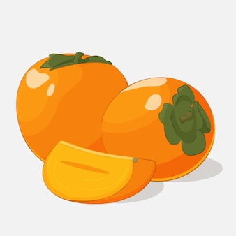 Bright juicy persimmon on grey background in cartoon style