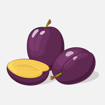 Bright juicy plum on grey background in cartoon style