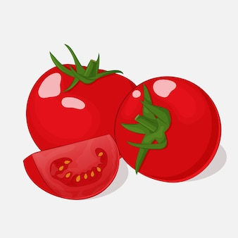Bright juicy tomatoes on grey background in cartoon style
