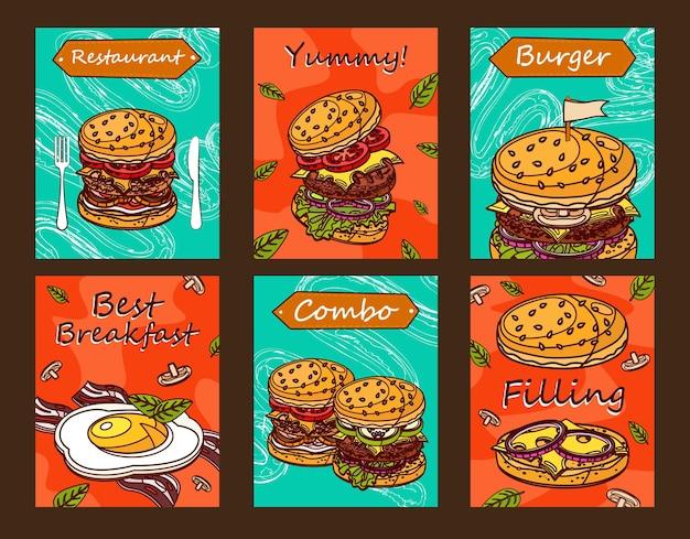Яркие дизайны листовок для ресторана быстрого питания. креативные открытки с вкусными бургерами или завтраком.