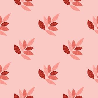明るい葉飾りシームレスパターン。ピンクと赤の色でデザインします。