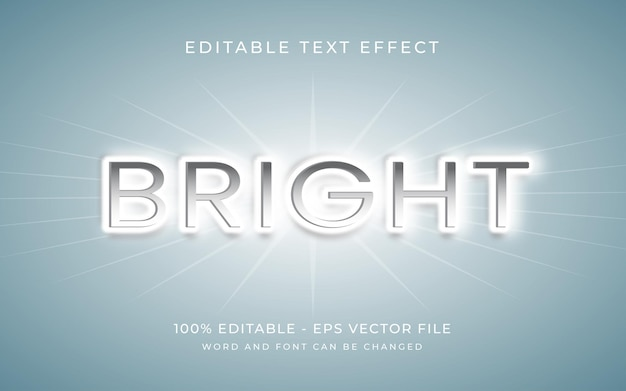 Bright of light 3d text effect style editable text effect