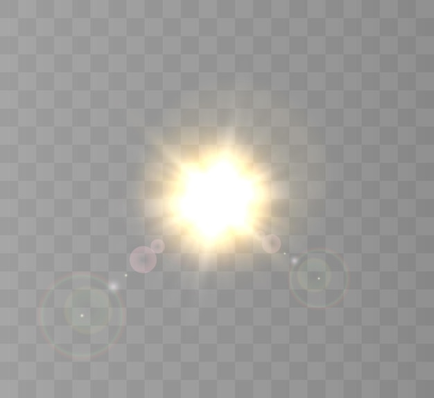 하이라이트가있는 밝은 조명 효과.