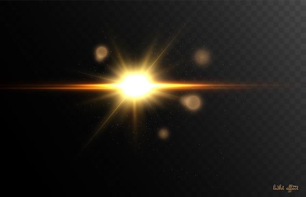 ベクトルイラストの光線とハイライトによる明るい光の効果