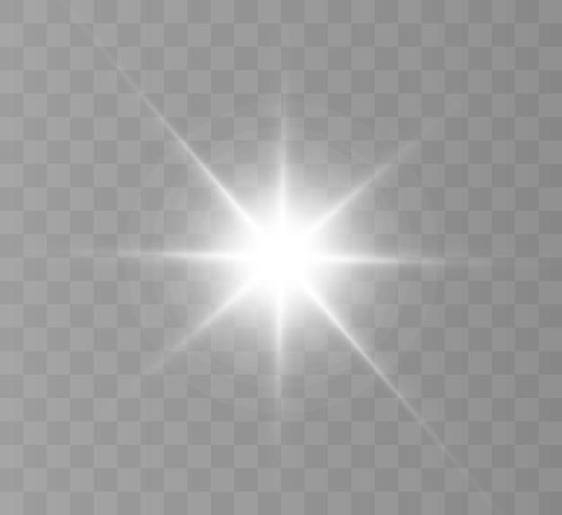 Яркий световой эффект с лучами и бликами для векторной иллюстрации