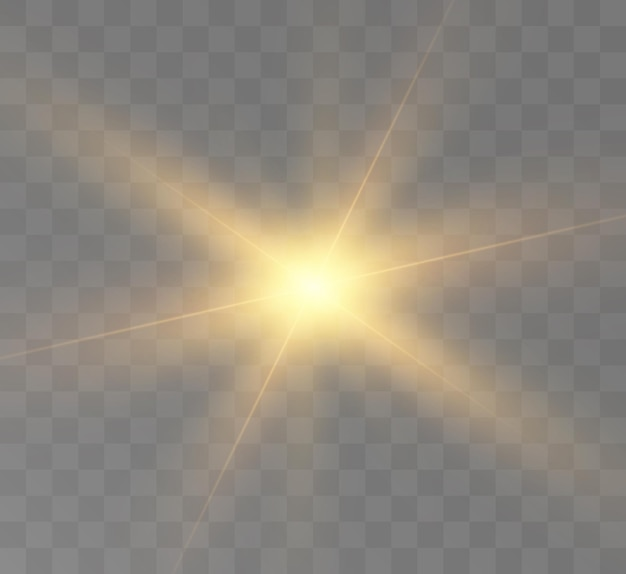 Bright light effect with rays and highlights for vector illustration
