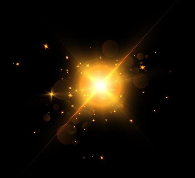 光線による明るい光の効果