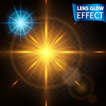 Bright light effects of high quality. the effect  the lens, the sun glow,  . design for the new year and christmas