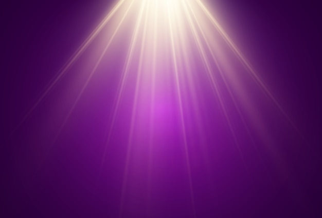 A bright light shining on a transparent background. light rays emanating from a light source.