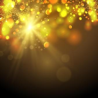 The bright light of the sun transparent sunlight front solar lens flare