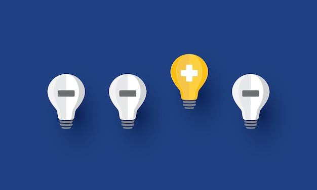 긍정적인 기호가 떠 있는 밝은 전구 아이디어 긍정적인 생각 영감과 행복 콘