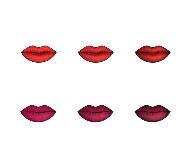 口紅で明るい唇。