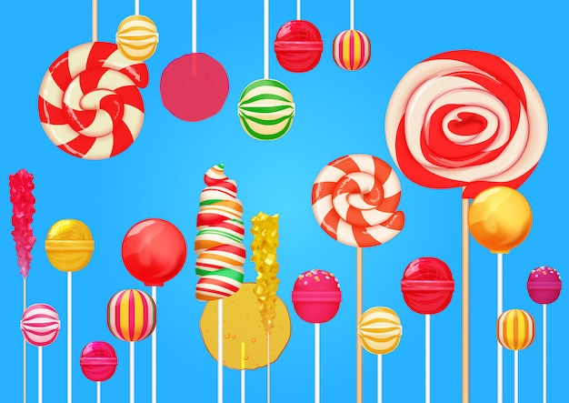 Bright lollipops candy sweets background