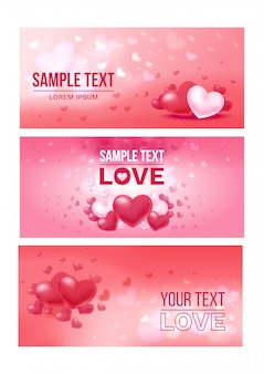 Bright love festive horizontal banners
