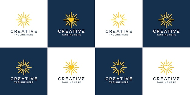 Bright love logo design icon symbol  template.