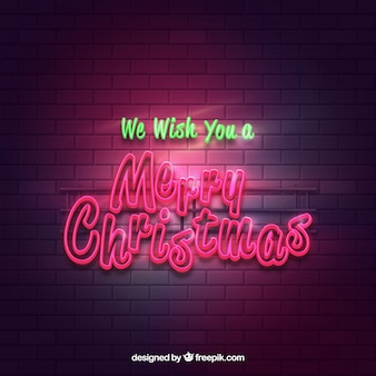 Bright merry christmas poster background with neon lights