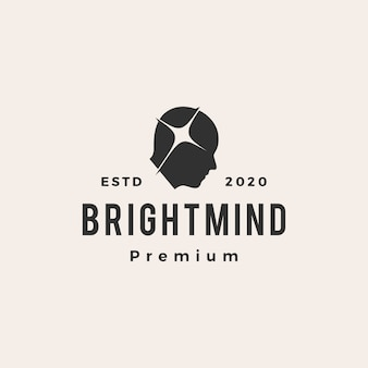 Bright mind  vintage logo  icon illustration