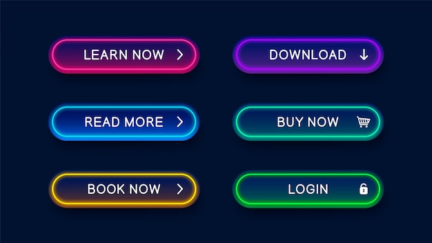 Bright modern neon abstract buttons for website.