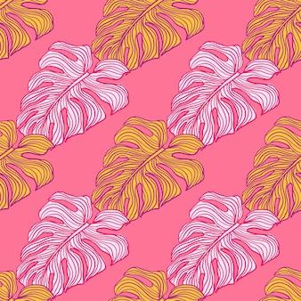 明るいモンステラはピンクの背景にシルエットのシームレスなパターンを残します