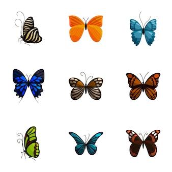 Bright motley butterflies icons set, cartoon style