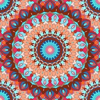 明るい雑多な手描きの装飾的な花の抽象的なシームレスな背景とシルクネッカチーフのデザインやテキスタイルへの印刷のための多くの詳細