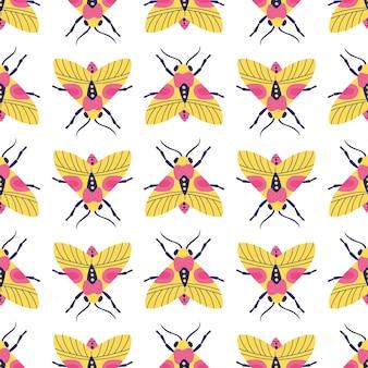 蛾や蝶と明るい雑多なシームレスパターン