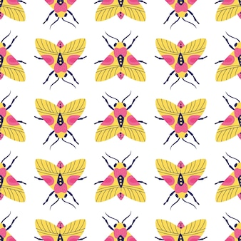 Bright motley seamless pattern with moths and butterflies