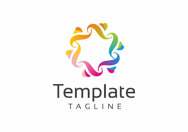 Bright multi-colored round abstract logo pattern template
