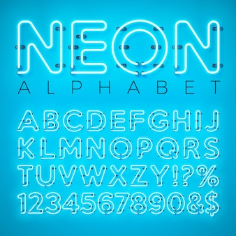 Bright neon alphabet on blue background