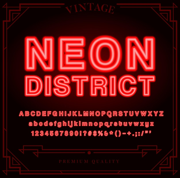 明るいネオンアルファベットの文字、数字、記号はベクトルにサインインします。ナイトショー。
