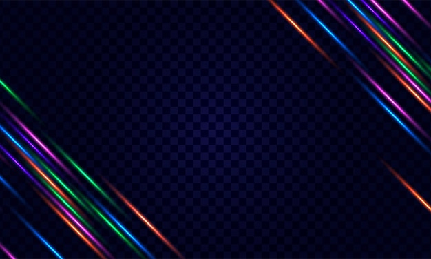 Bright neon frame for banner or sign isolated on transparent background
