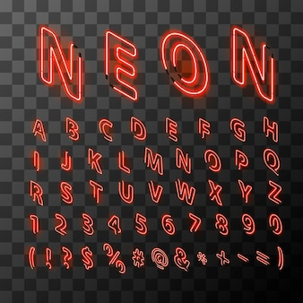 Bright neon red letters in isometric view