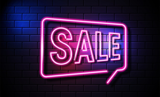 Bright neon sale sign. retro neon sale sign on dark .