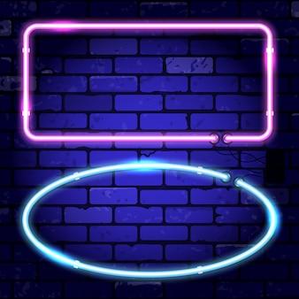 벽돌 벽에 밝은 네온 간판 프레임
